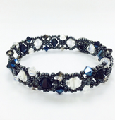 Art Deco Bracelet with SWAROVSKI® ELEMENTS, Beadwork Jewellery Making Kit Midnight Blue